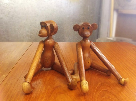 Pair of articulated wooden toy monkeys