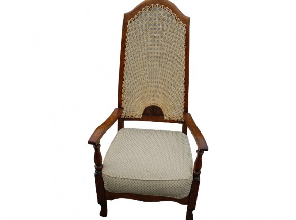 Cane chair with upholstered sprung cushion