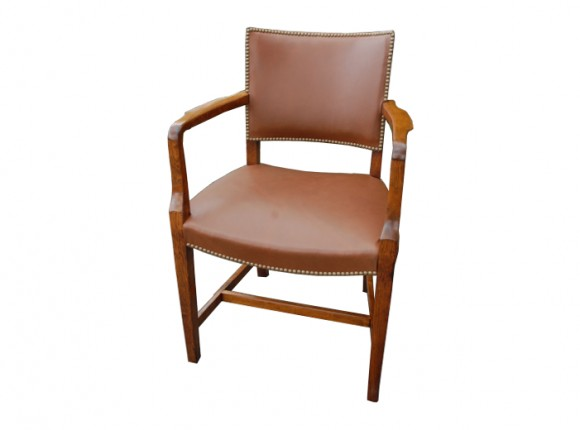 Dining arm chair upholstered in leather