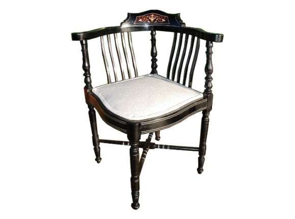 Ebonised corner chair with marquetry design in back splat