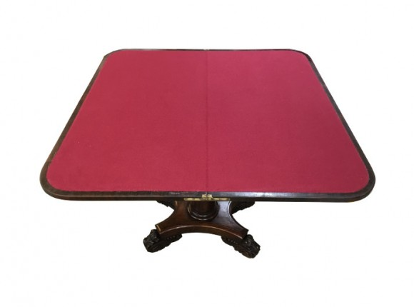 William IV card table needing new baize