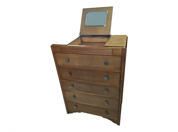 Modern 20thC chest with vanity mirror